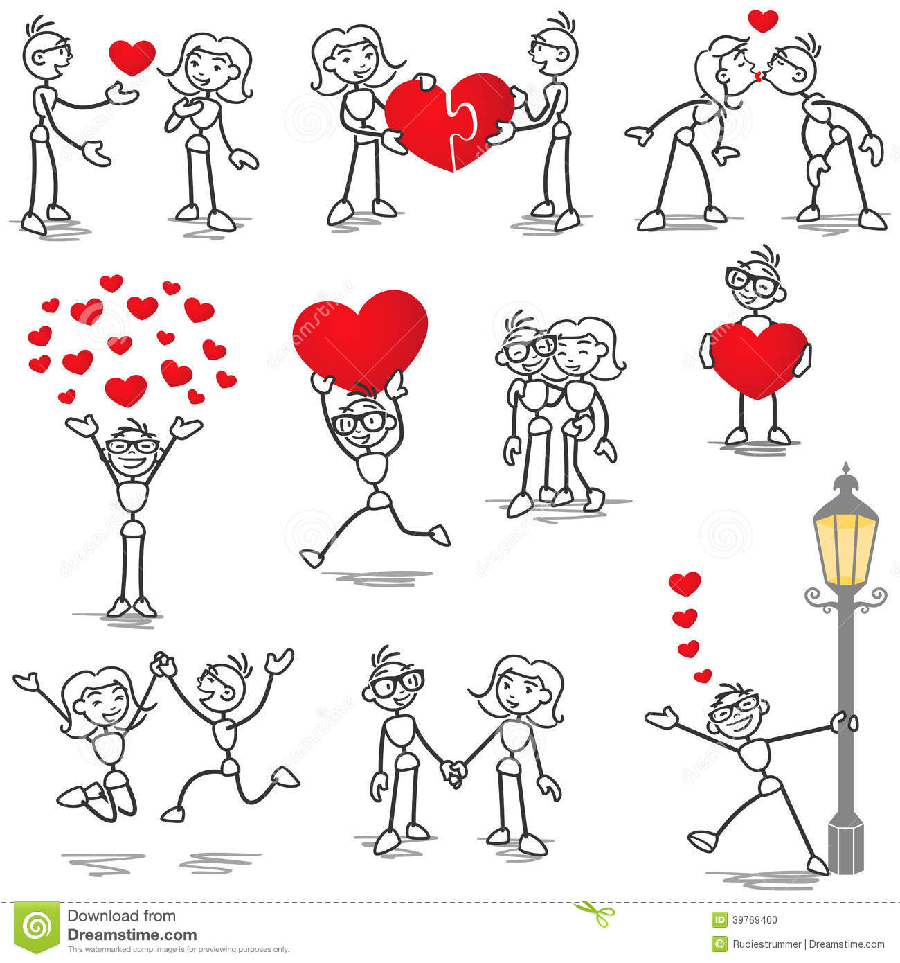Stickman Stick Figure In Love Couple Heart Kiss Stock Vector