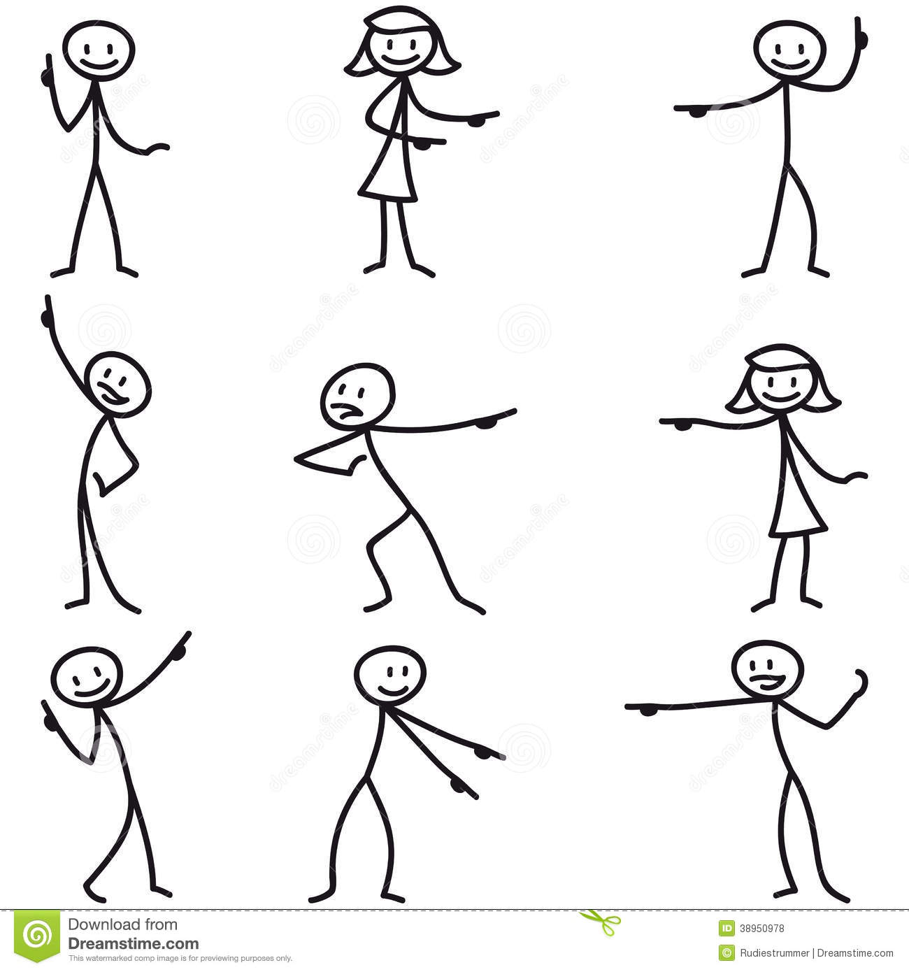 Left Pointing Stick Figure