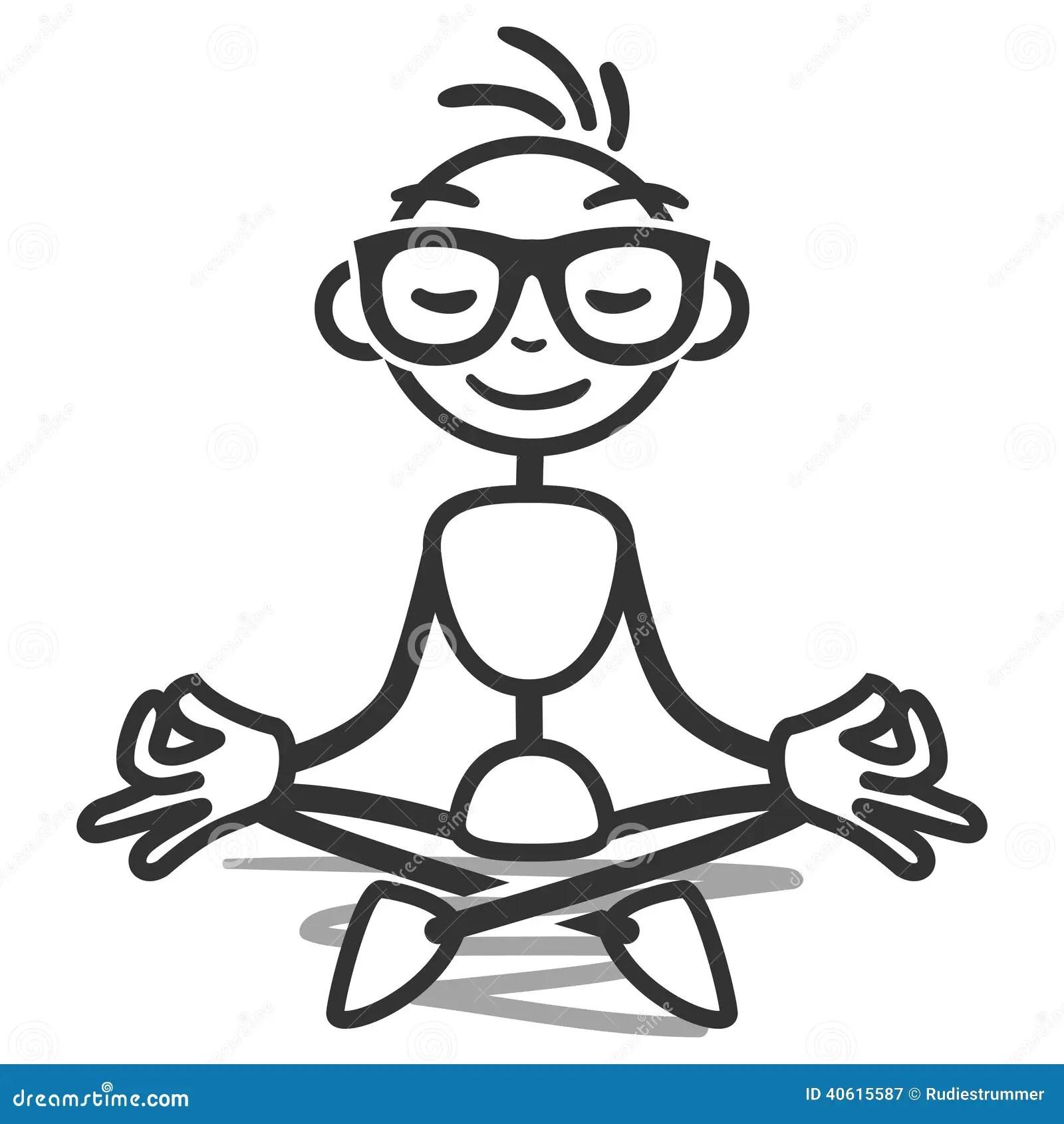 Stickman Yoga Lotus Meditating Stock Vector