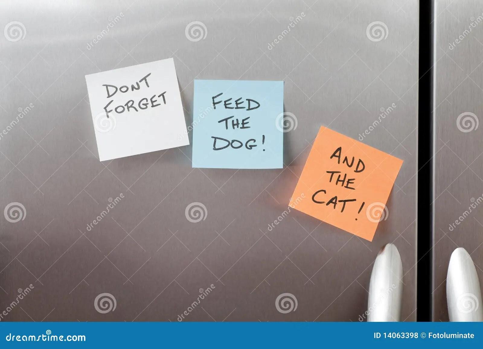 Sticky Notes On A Refrigerator Royalty Free Stock Photos