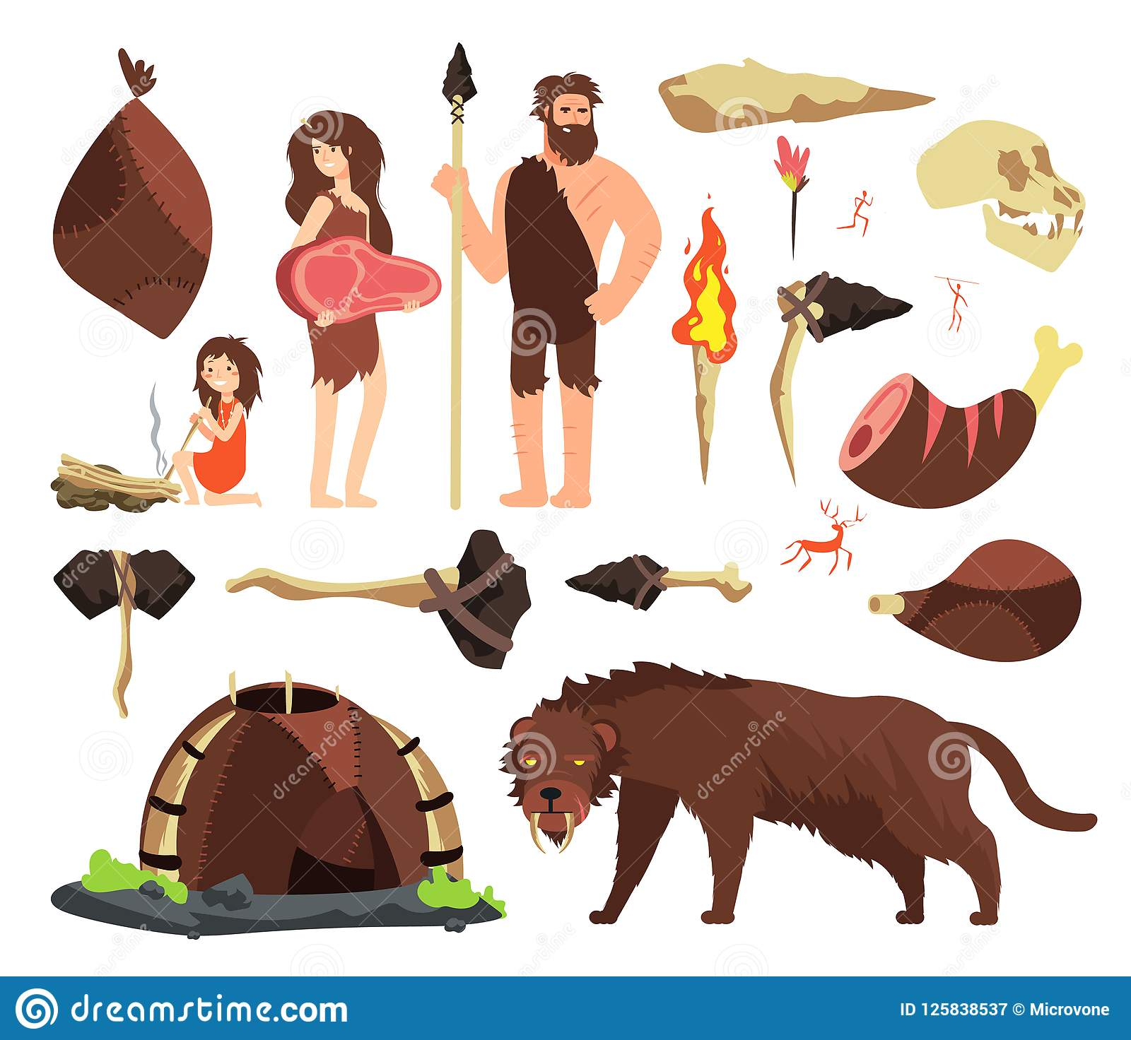 Stone Age Caveman Hunting Neolithic People Mammoth And