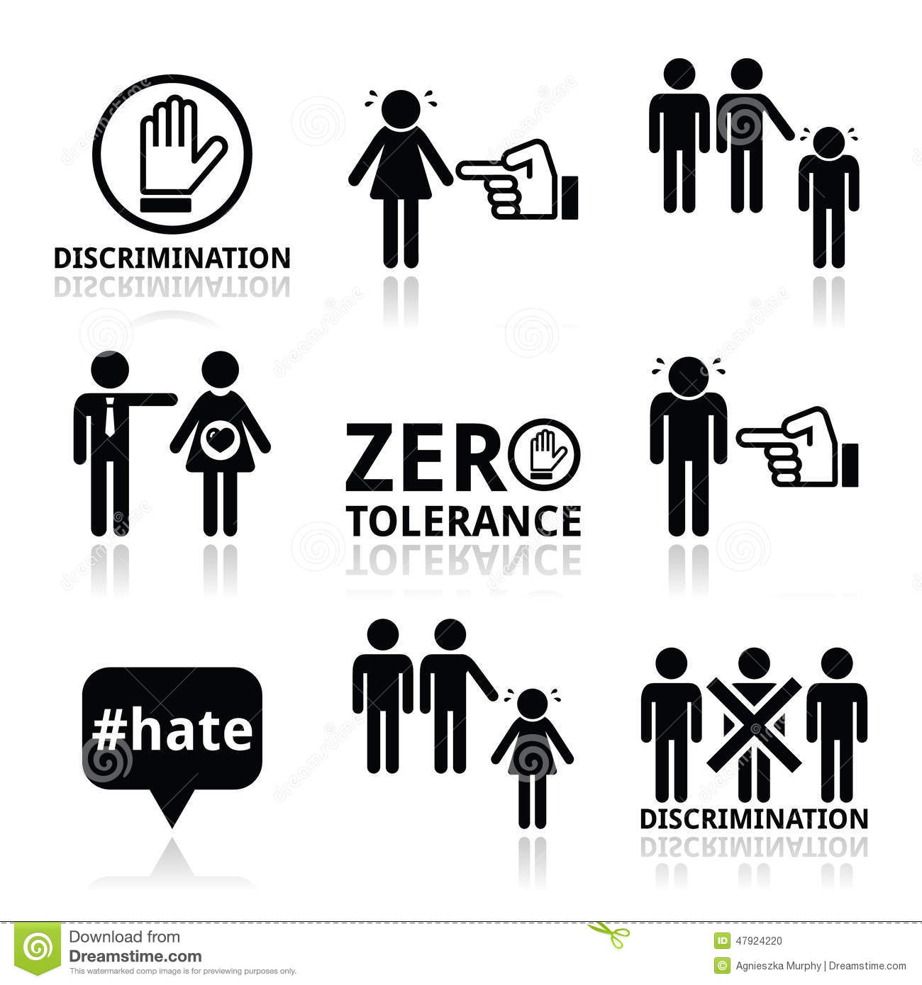 Stop Discrimination Of Men And Women Icons Set Stock