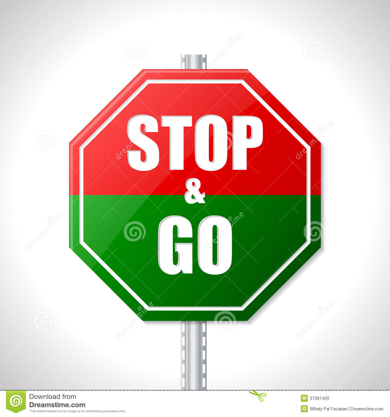Stop And Go Sign For Racers Stock Vector