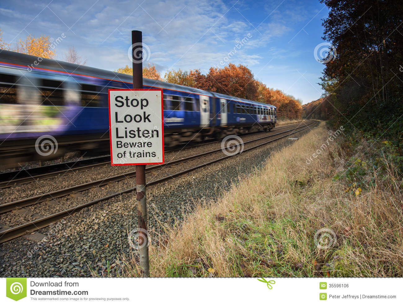Stop Look Listen Warning At Level Crossing Stock Photo