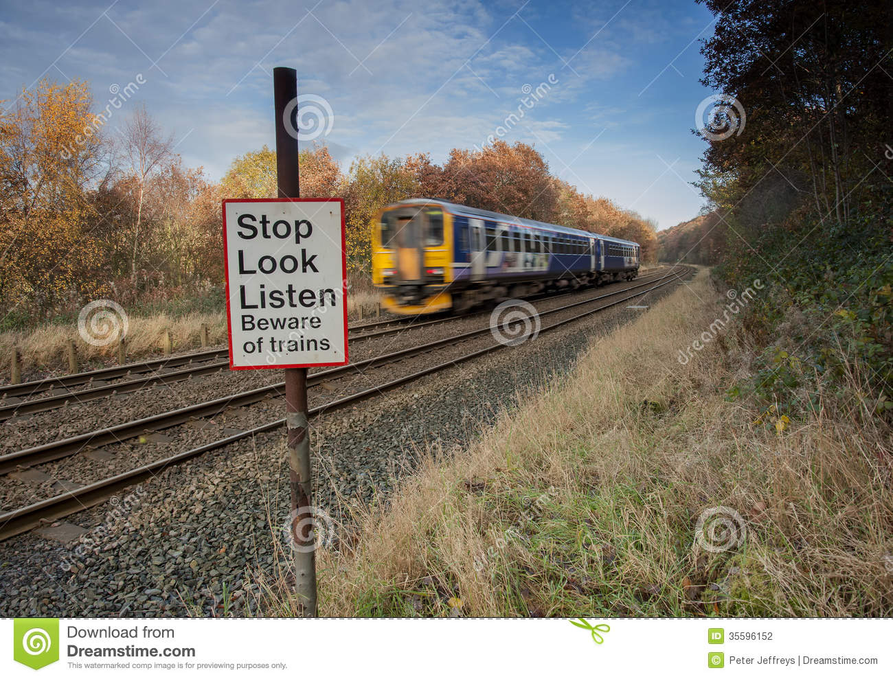 Stop Look Listen Warning At Level Crossing Stock