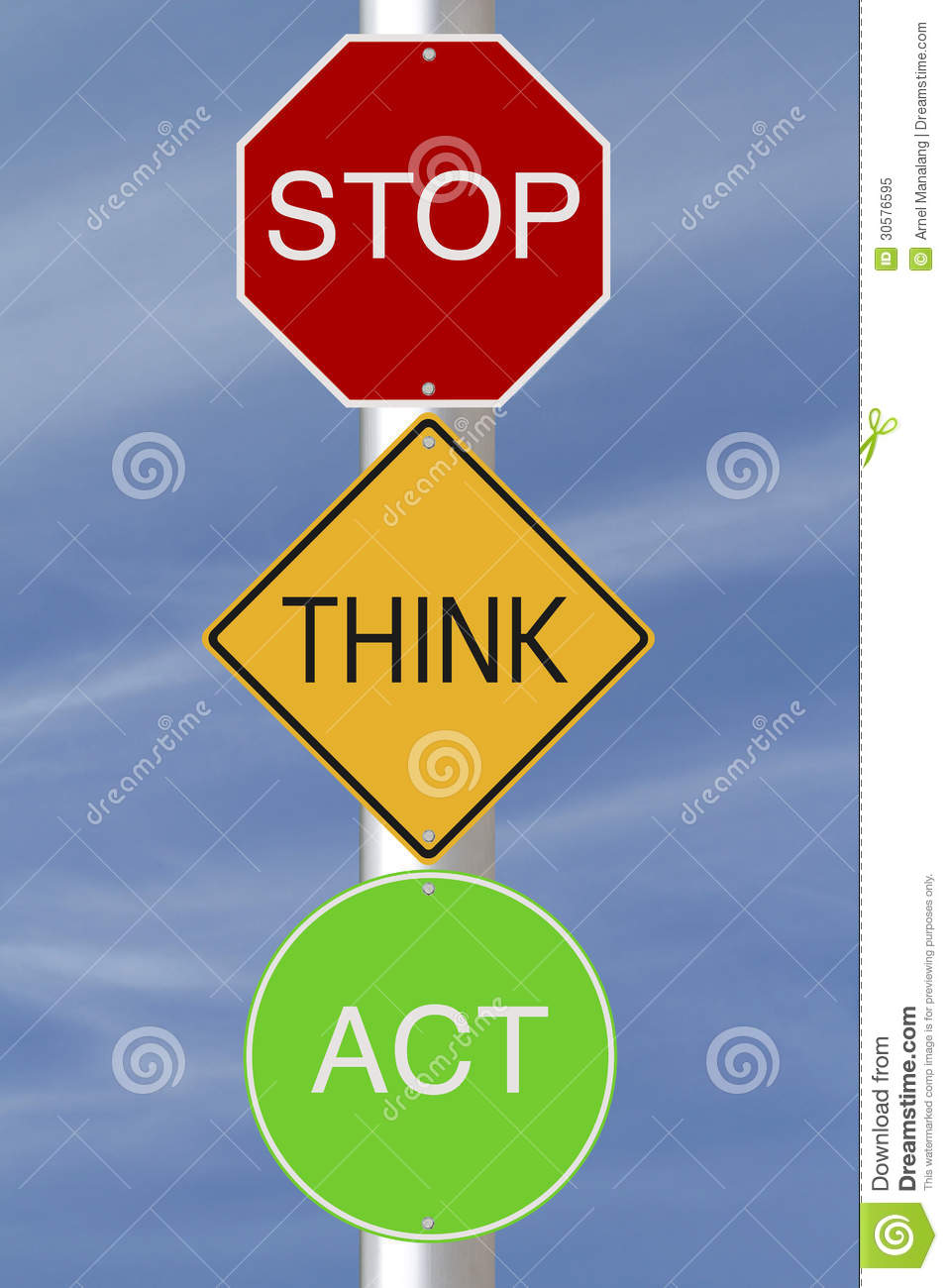Stop Think Act Royalty Free Stock Photo