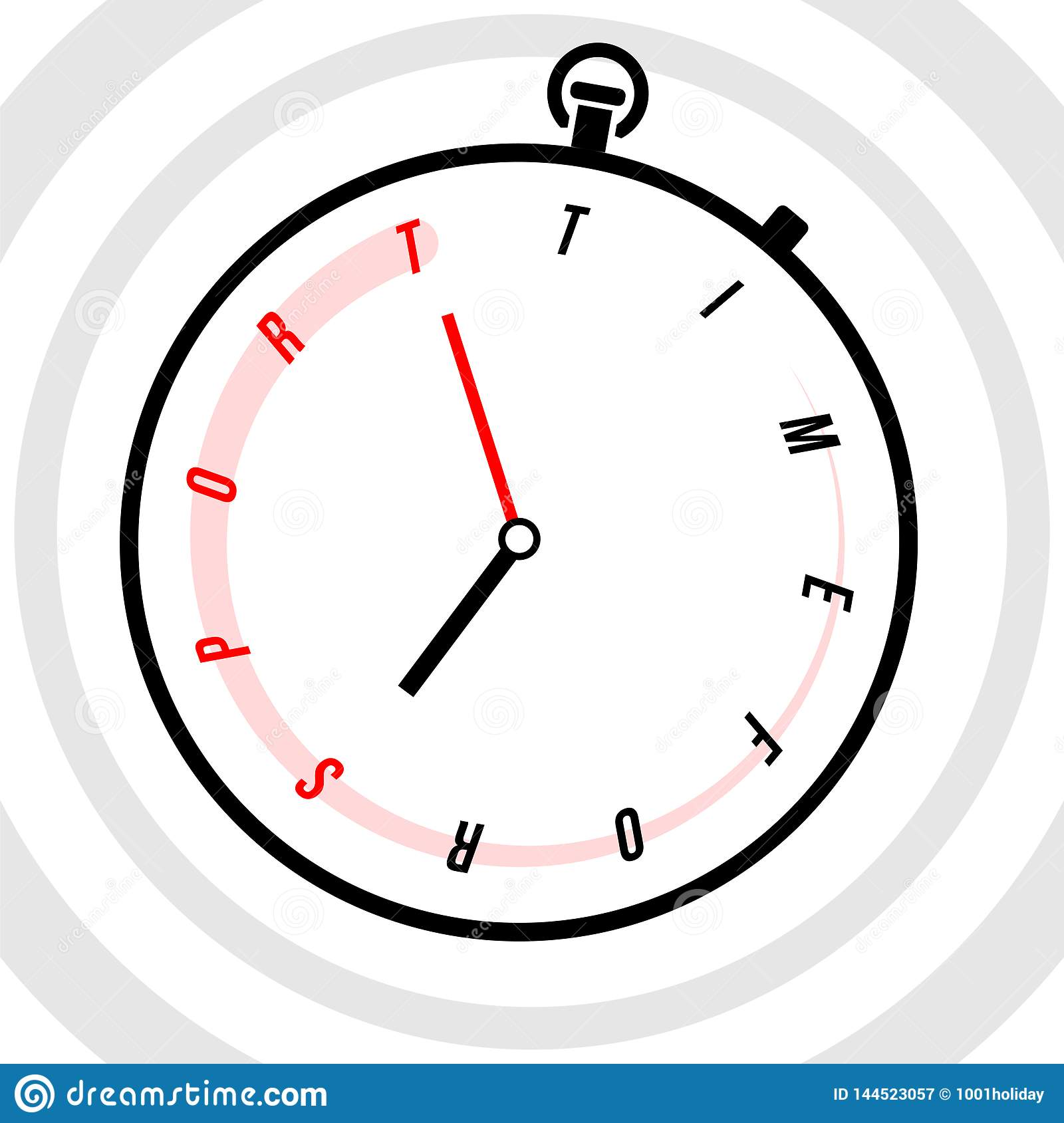 Stopwatch With Clock Face Stylized Like Text Time For