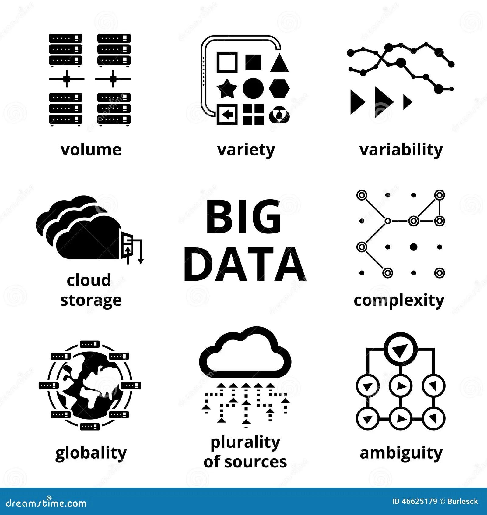 Stora Datasymboler Vektor Illustrationer Illustration Av Modernt