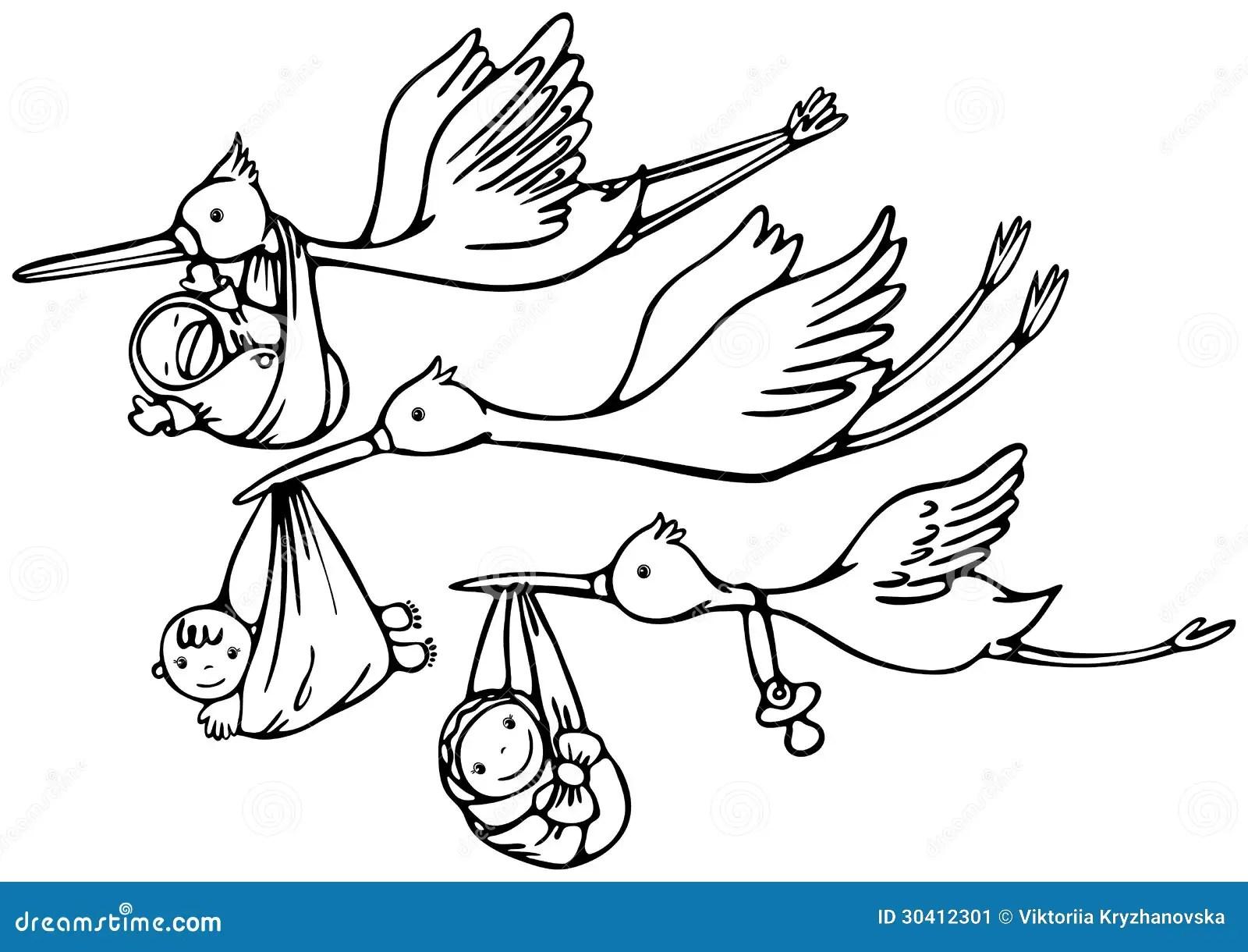 Storch Und Baby Vektor Abbildung Illustration Von