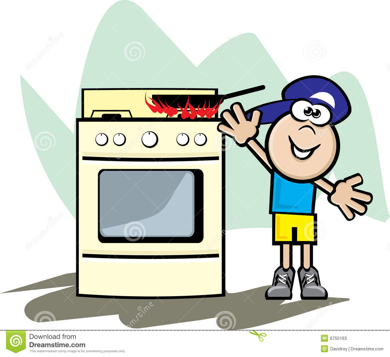 Stove And Child Danger Stock Vector Illustration Of Fire