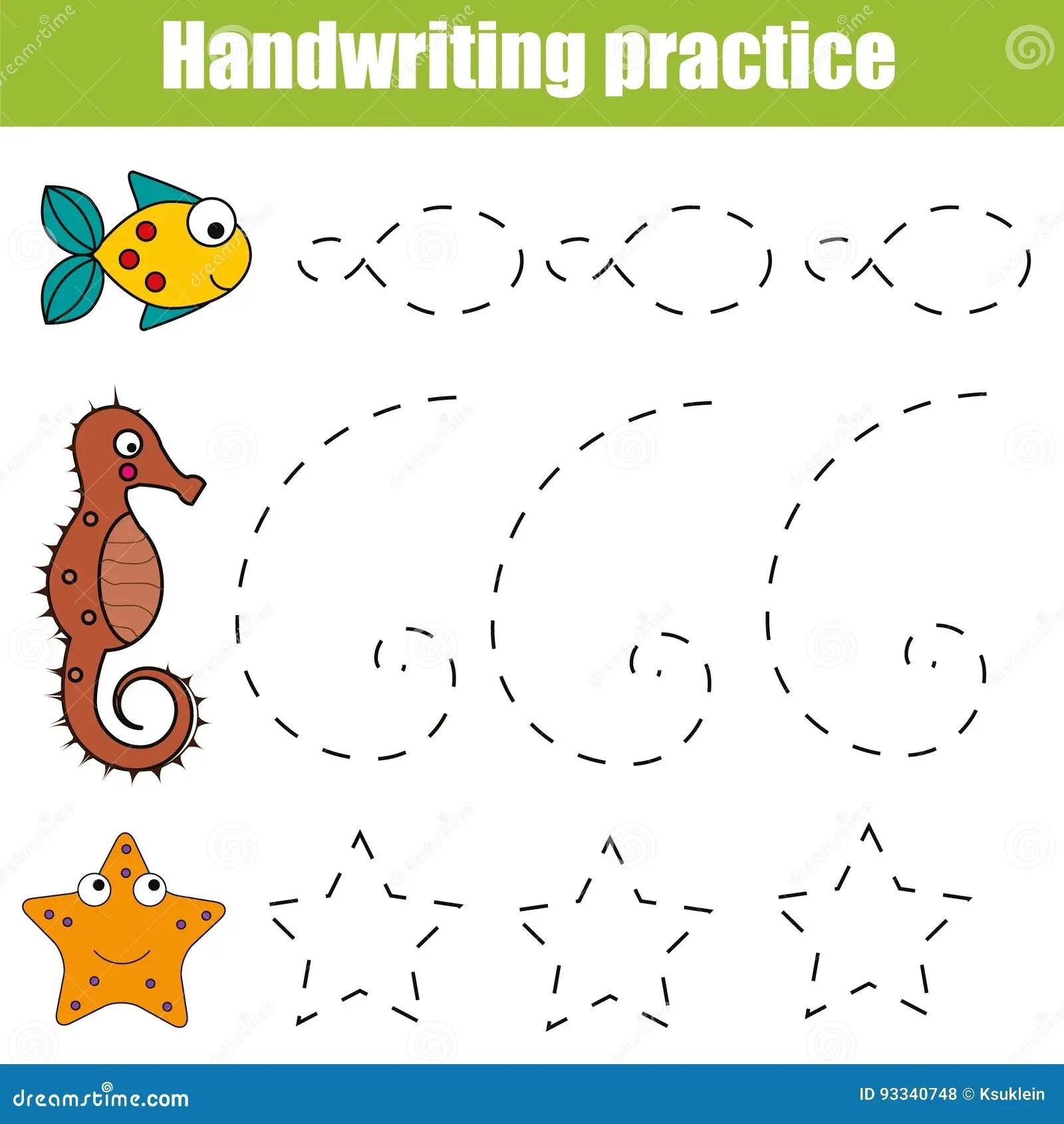 Strato Di Pratica Della Scrittura Gioco Educativo Dei Bambini Foglio Di Lavoro Stampabile Per I