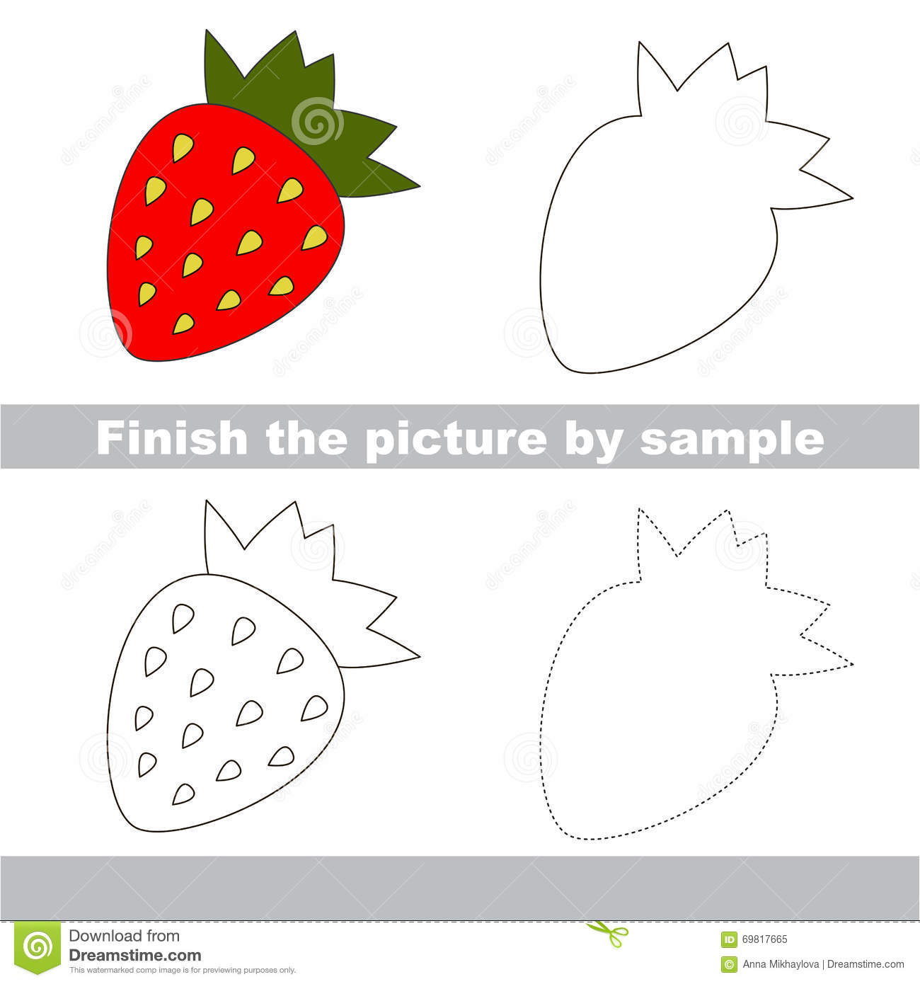 Strawberry Drawing Worksheet Stock Vector