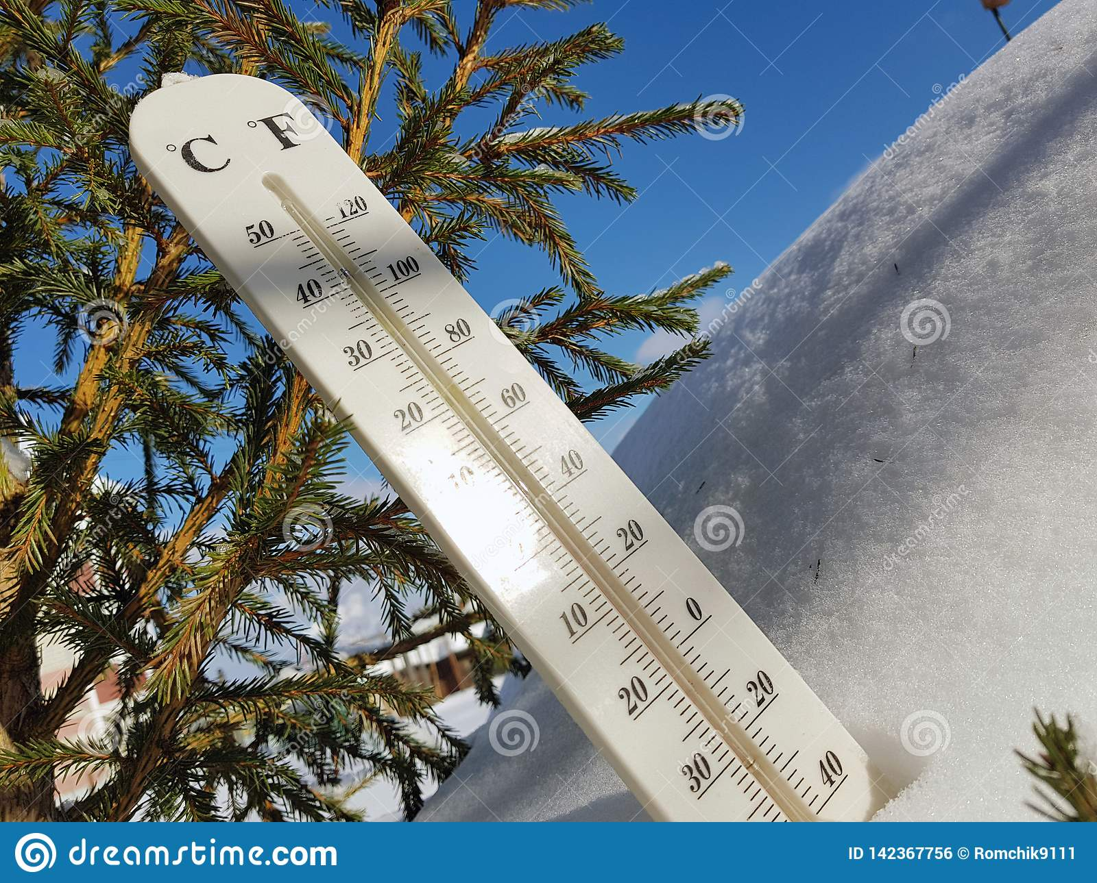 Street Thermometer With A Temperature Of Celsius And