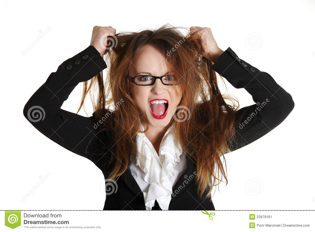 Stressed Business Woman Is Going Crazy Stock Image Image
