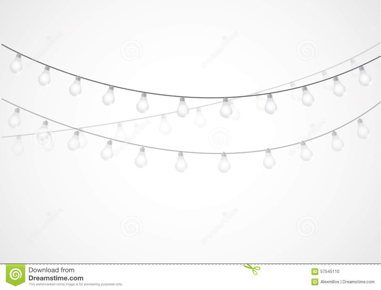 String Of Lights Hanging Light Bulbs Stock Illustration