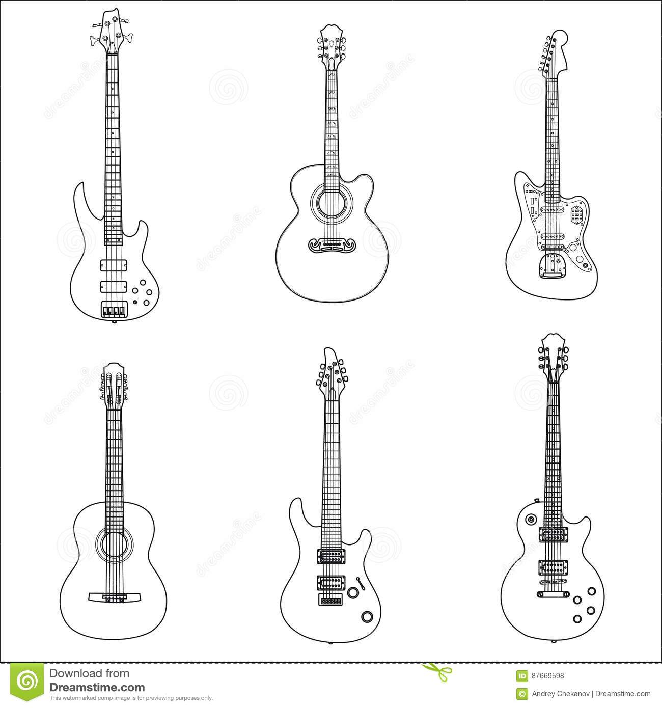Stroke Electric Rock Guitars And Acoustic Guitars Stock
