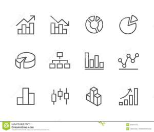 Stroked Graph And Diagram Icon Set Stock Photos  Image