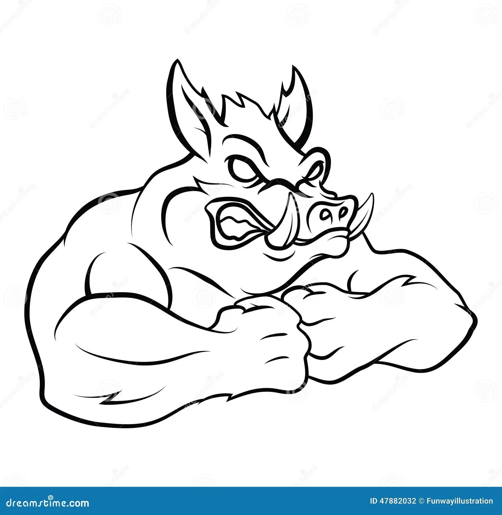 Strong Wild Boar Stock Vector