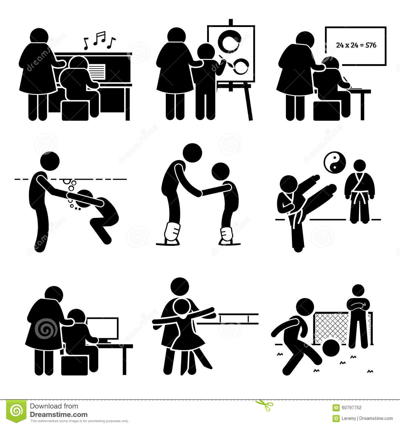 Student Learning Various Knowledge Pictogram Clipart Stock