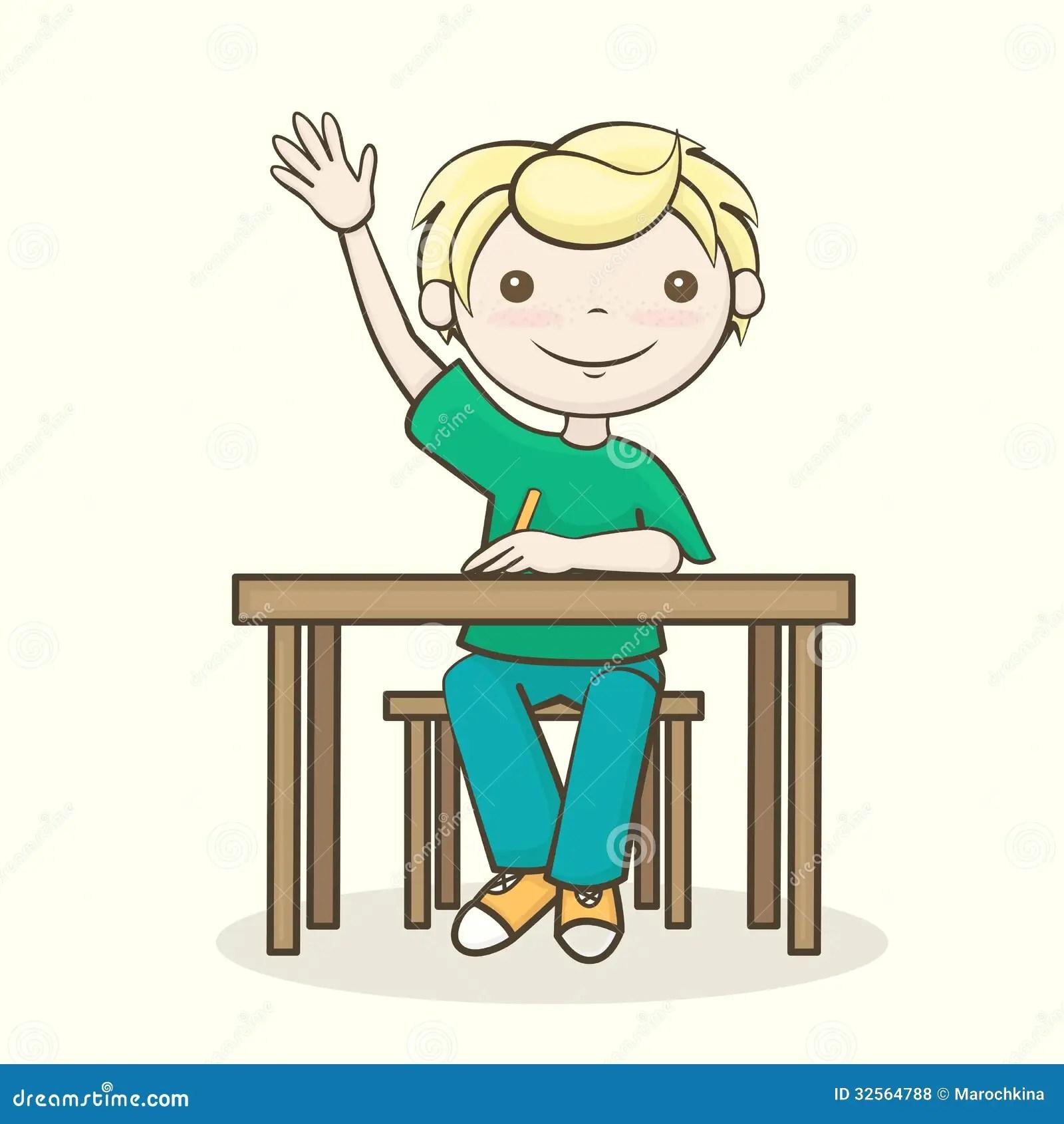 Student Raised His Hand Stock Illustration Illustration