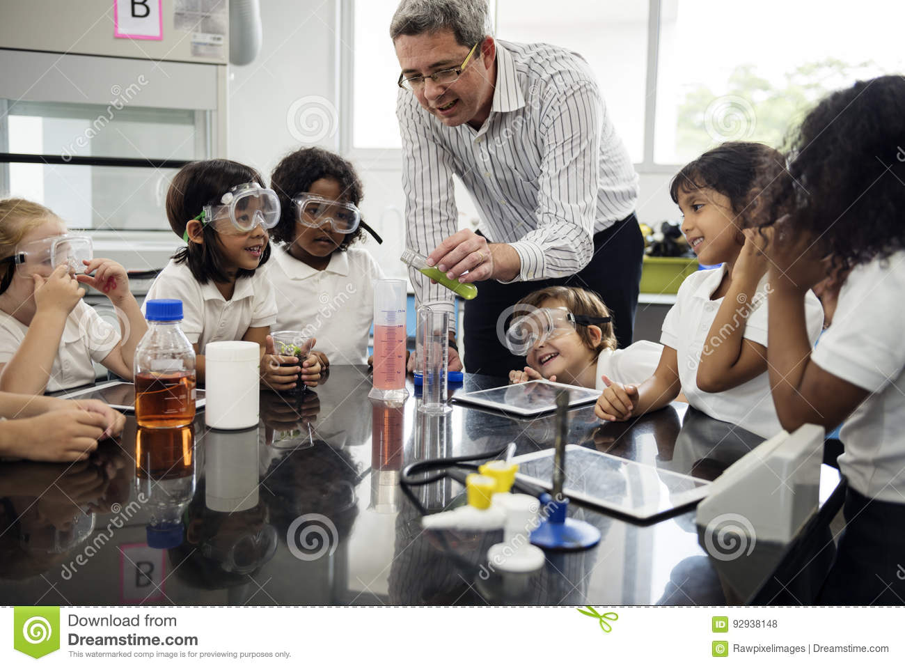 Students Learning In Science Experiment Laboratory Stock