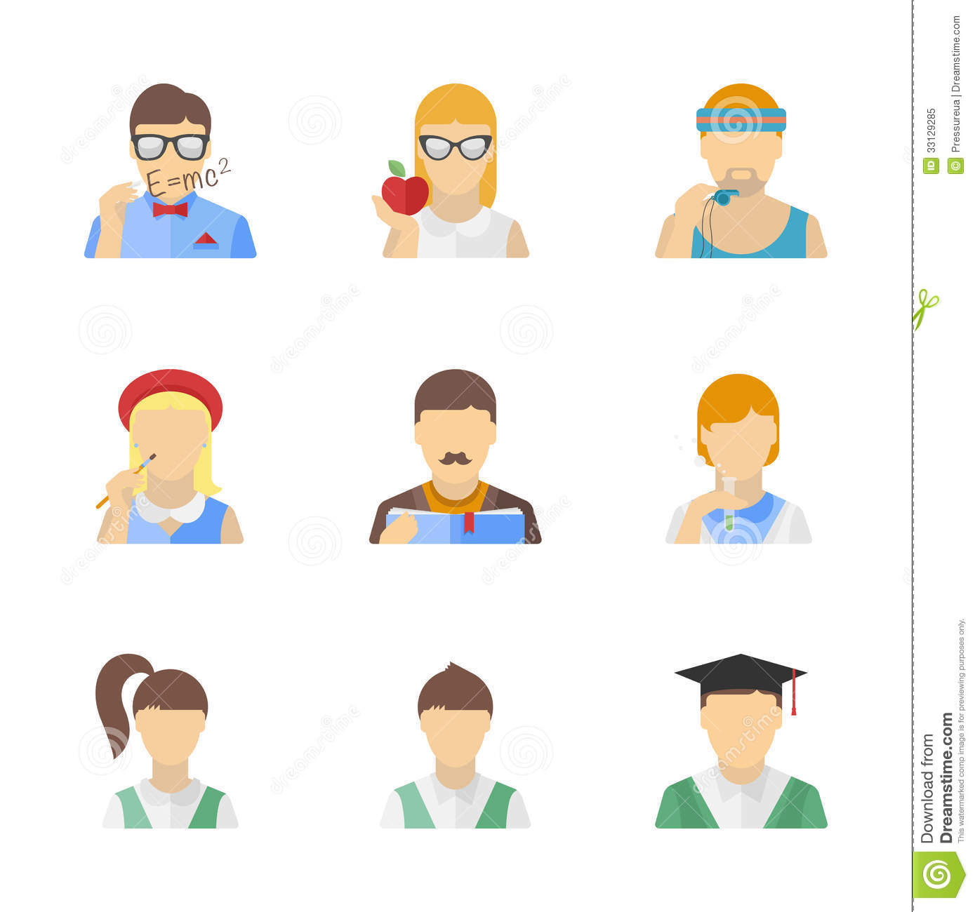 Students And Teachers Characters Set Royalty Free Stock