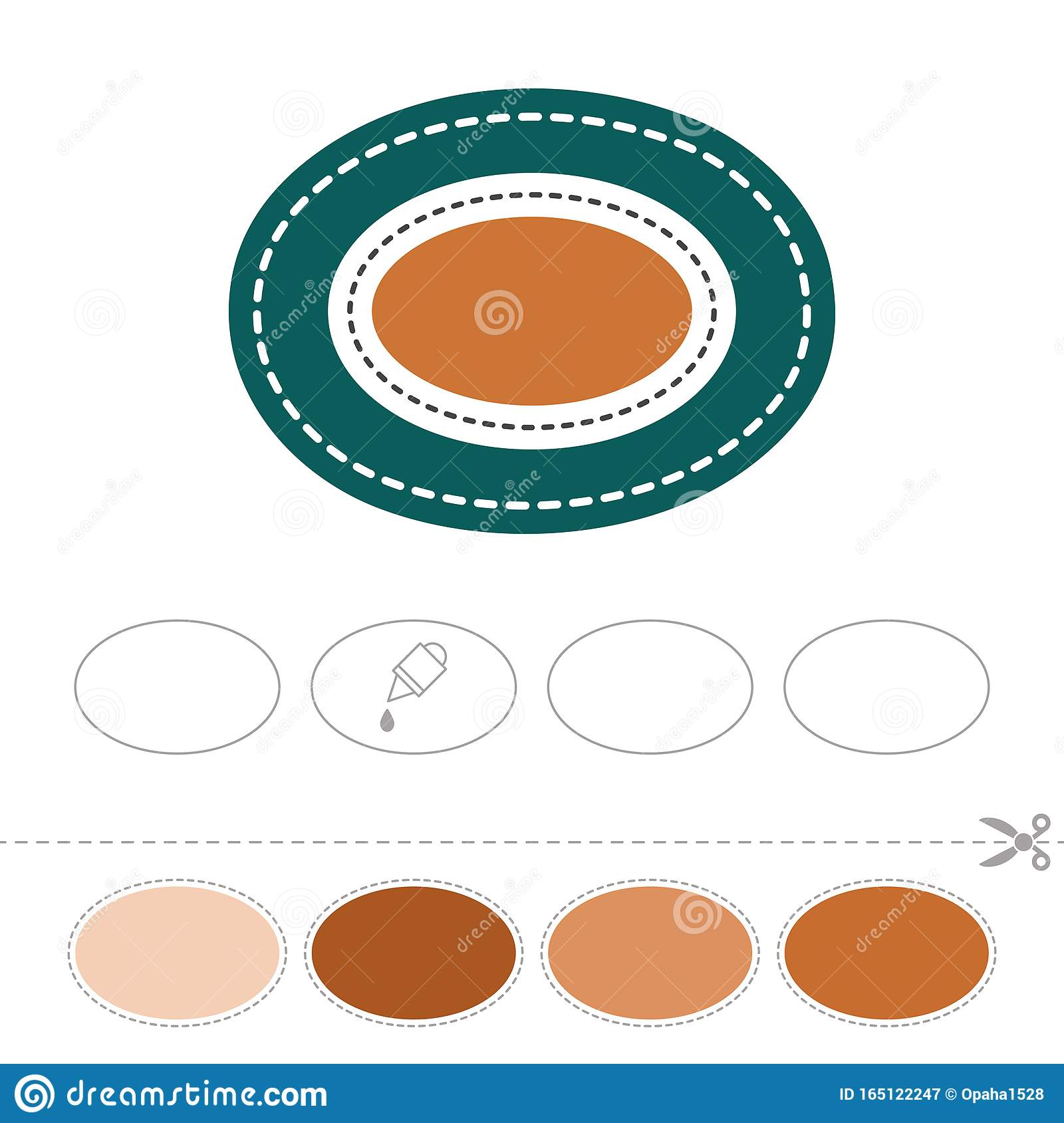 Study The Oval Cut And Glue Figures Stock Vector