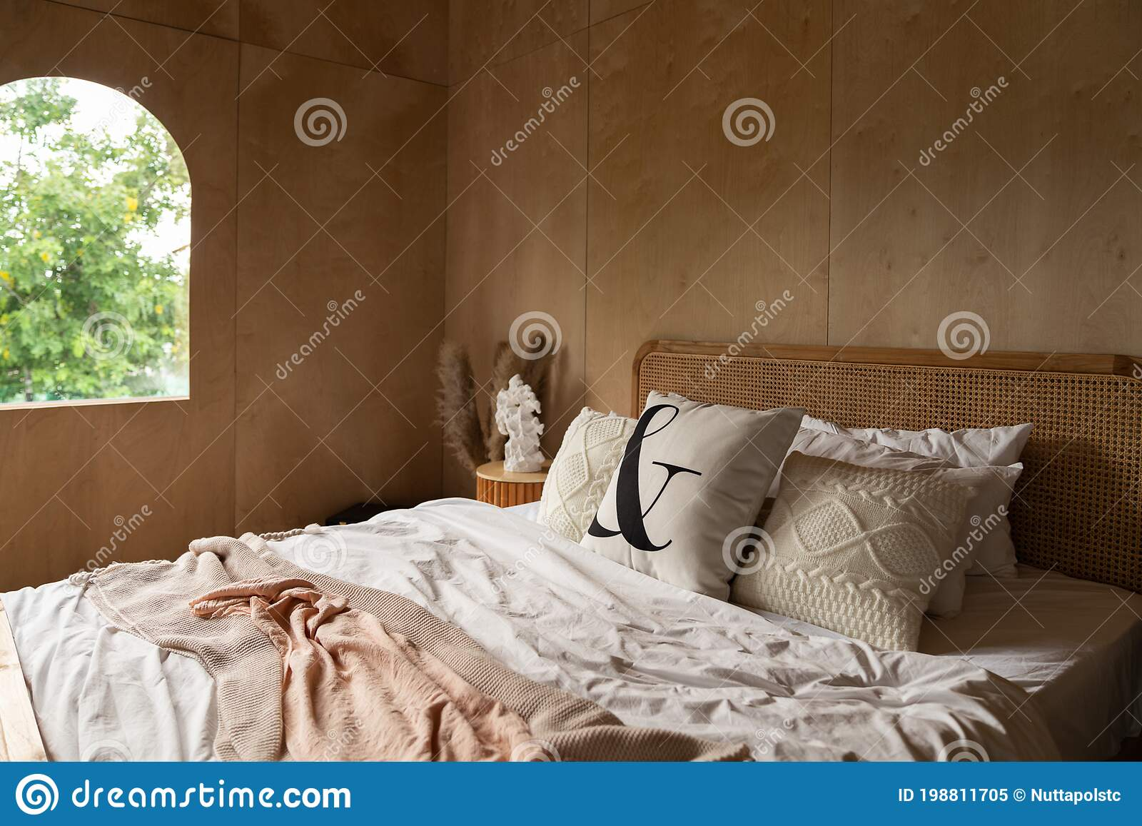 stylish bedroom corner with rattan headboard bed and soft pillow decoration with with plywood wall on the background cozy stock image image of fabric house 198811705