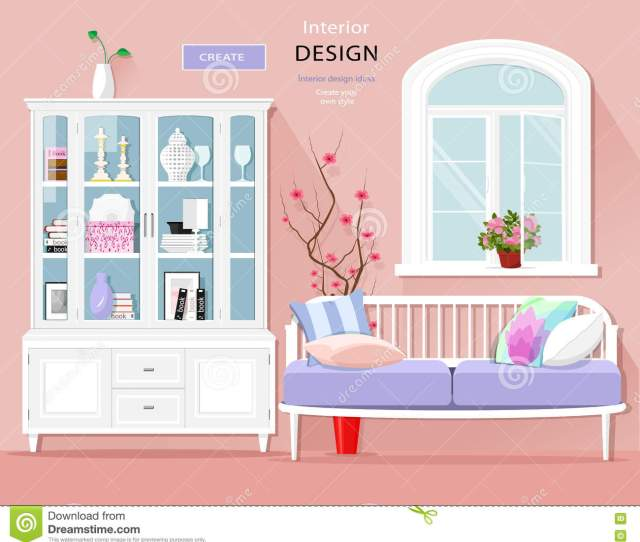 Stylish Graphic Room Interior With Pastel Colors Sofa Cupboard And Window Cute Room Set Vector Il Ration