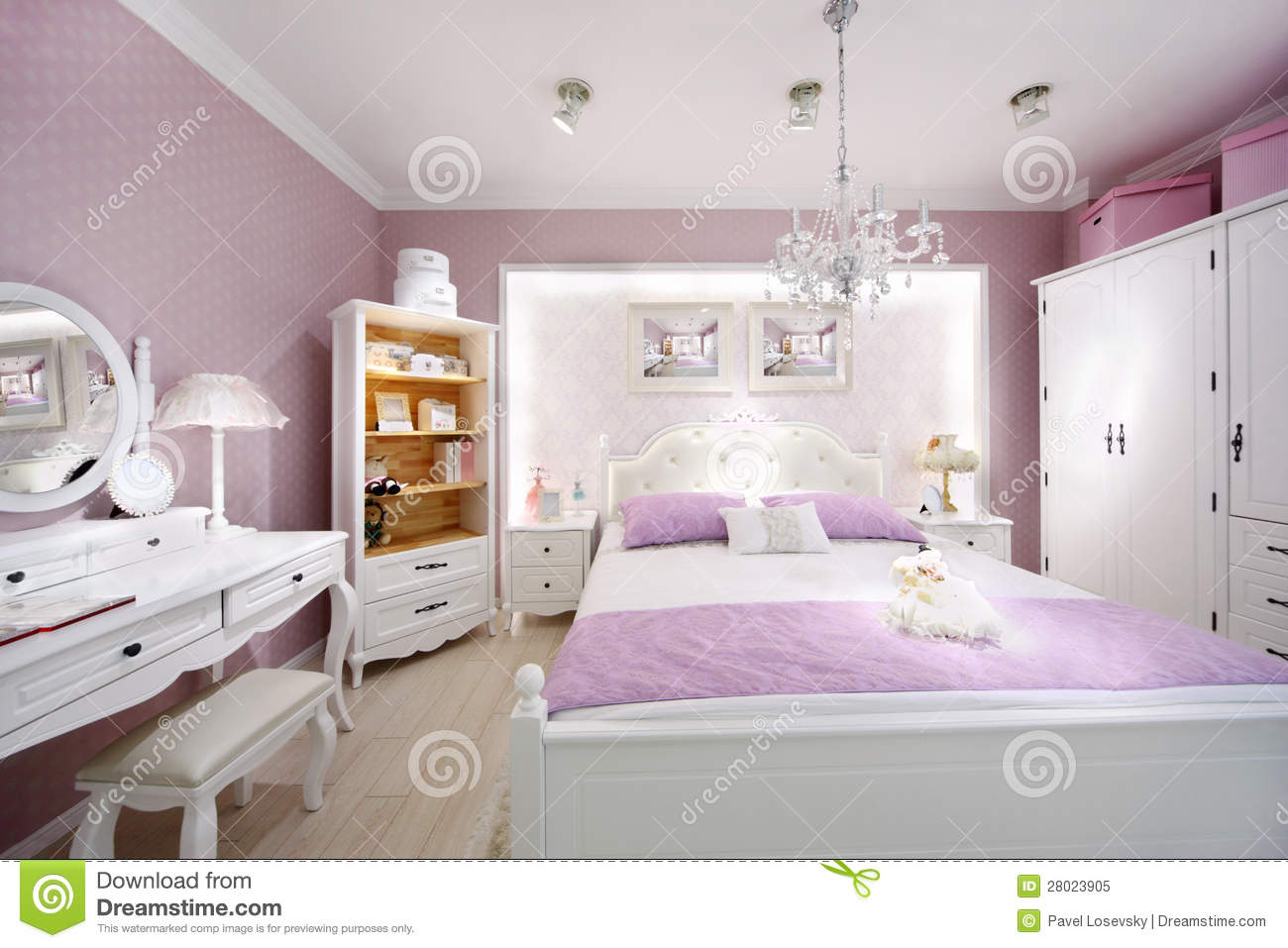Stylish Pink Bedroom For Woman Royalty Free Stock Photo