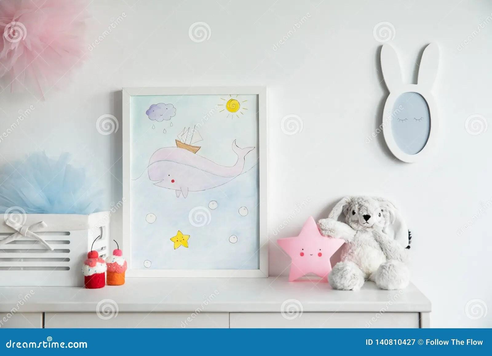 Stylish Scandinavian Newborn Baby Shelf With Mock Up Photo