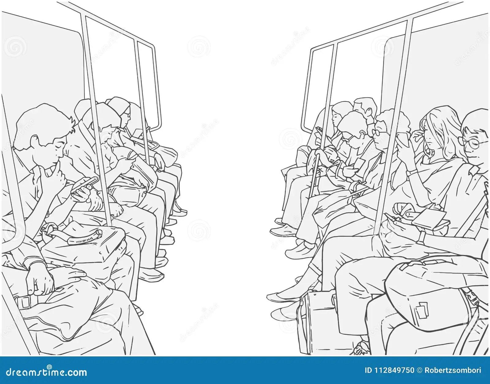 Illustration Of People Using Public Transport Train