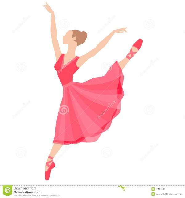 Stylized Silhouette Of Ballerina In Dress On White Stock
