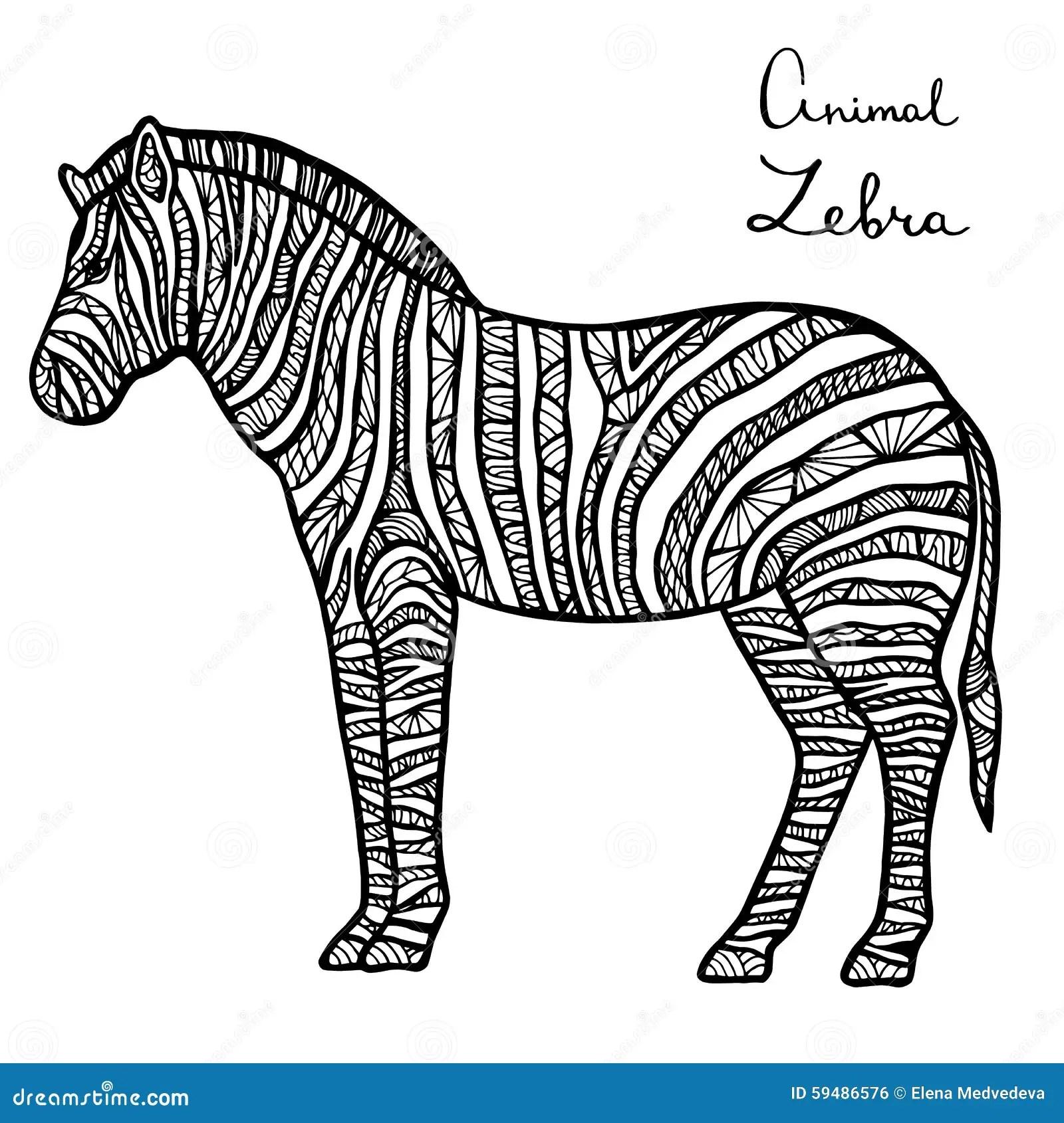 Stylized Vector Zebra Zentangle Isolated On White