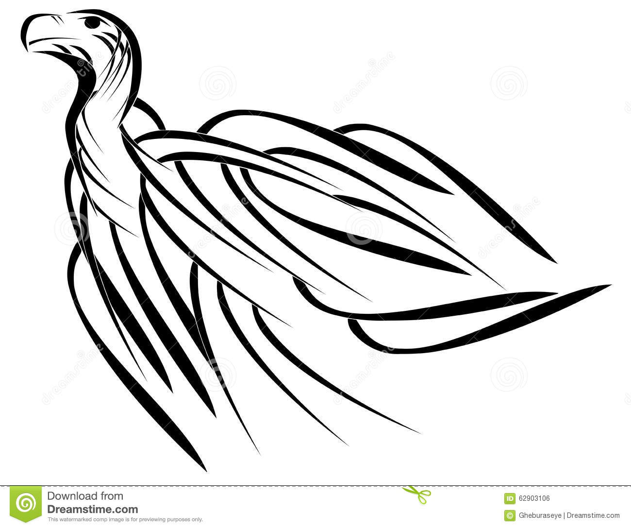 Stylized Vulture In Black And White Stock Vector