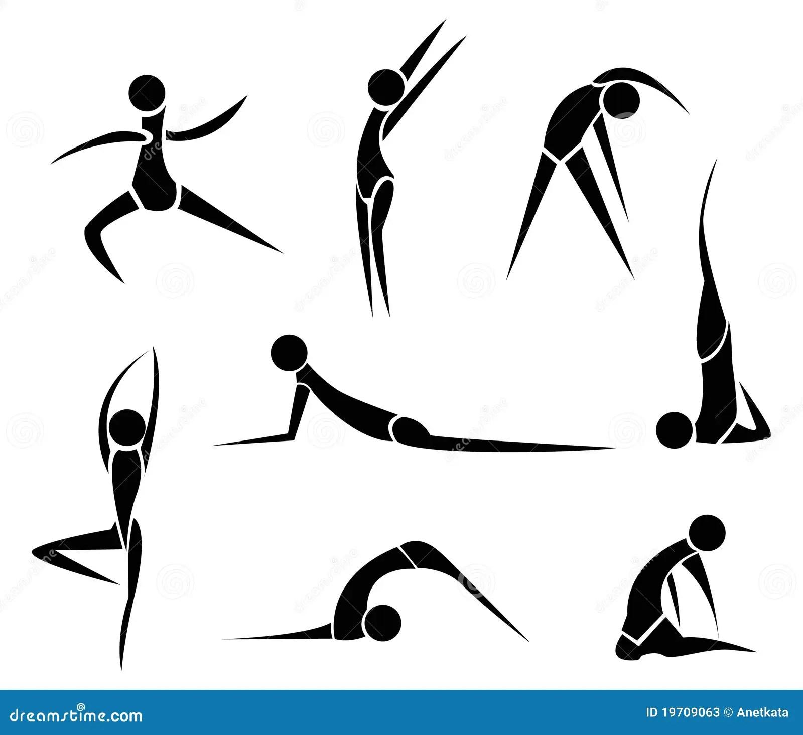 Stylized Yoga People Stock Vector Illustration Of