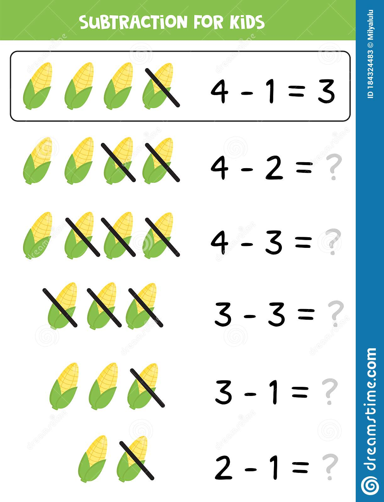 Subtracting Corncobs Educational Math Game For Kids