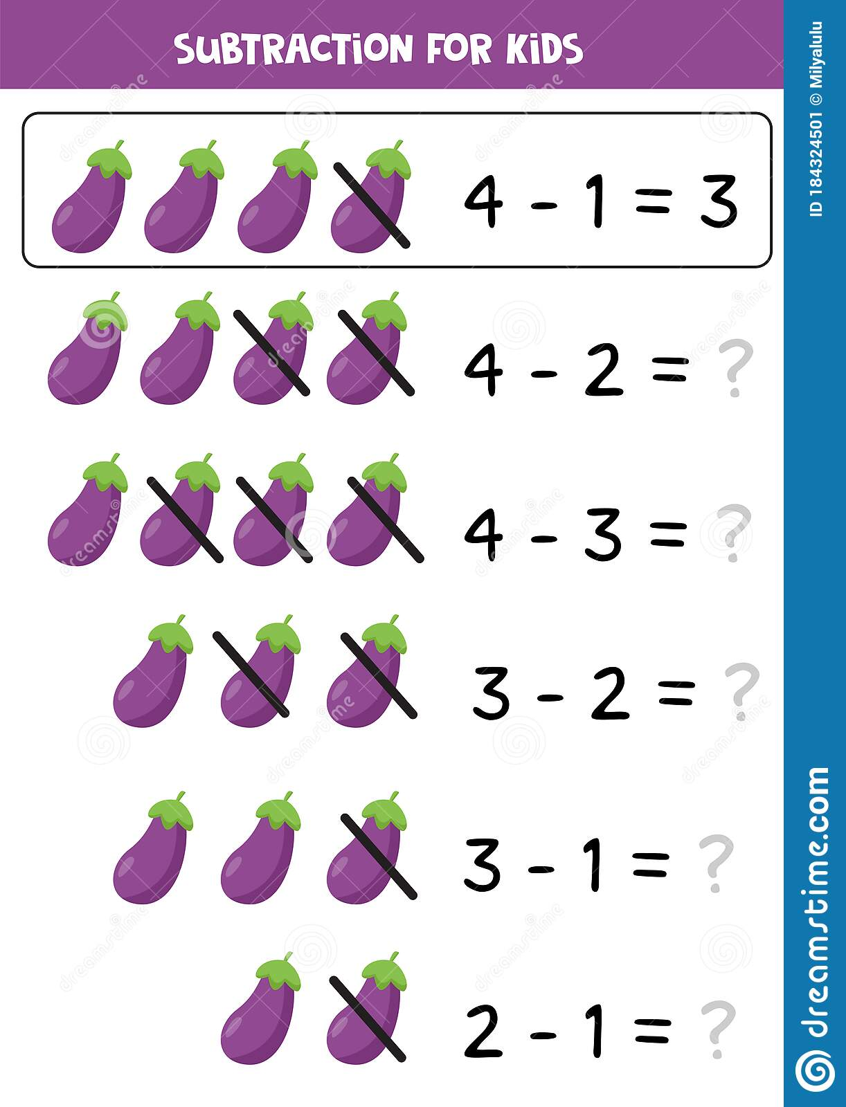 Subtraction Game With Cartoon Eggplants Educational