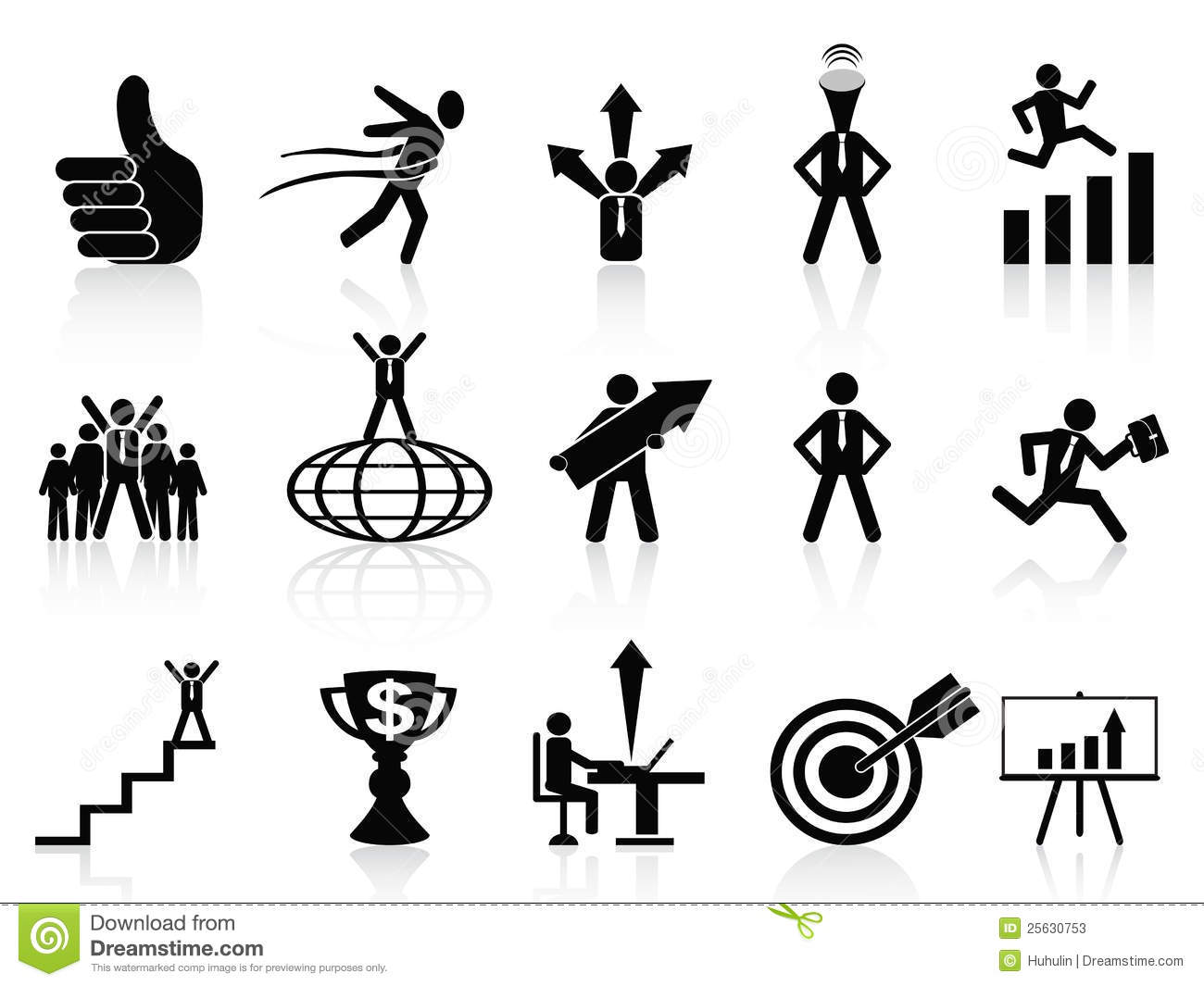 Success Business Icons Set Stock Photos