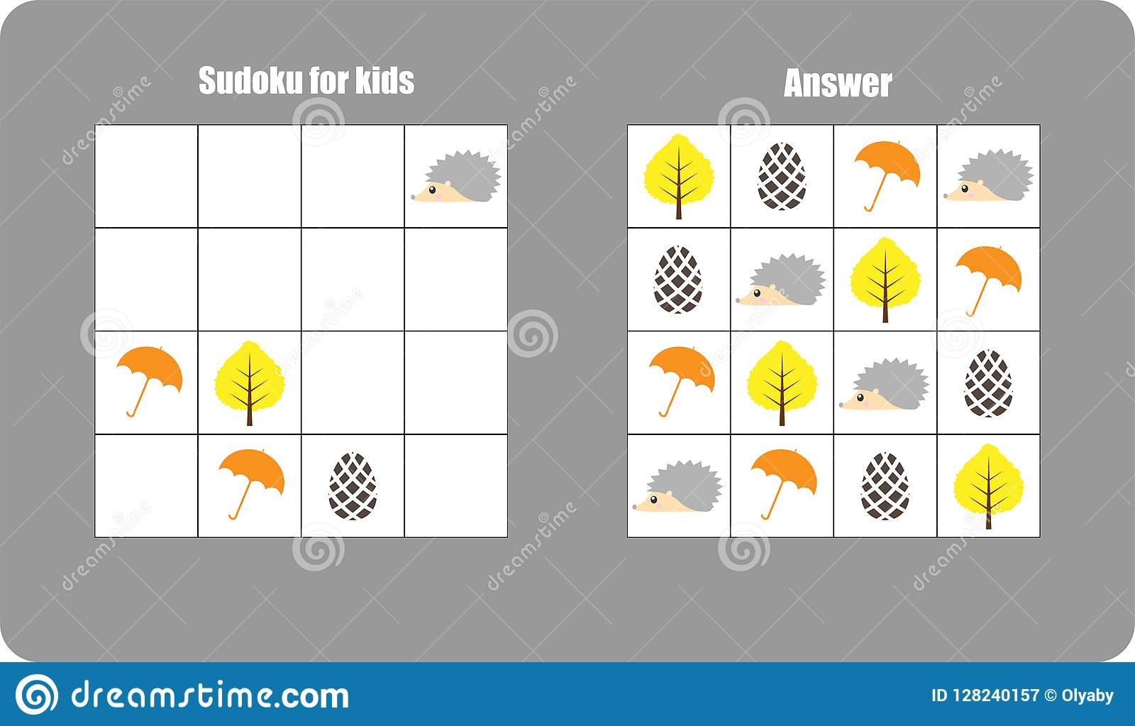 Sudoku Game With Autumn Pictures Umbrella Leaf For