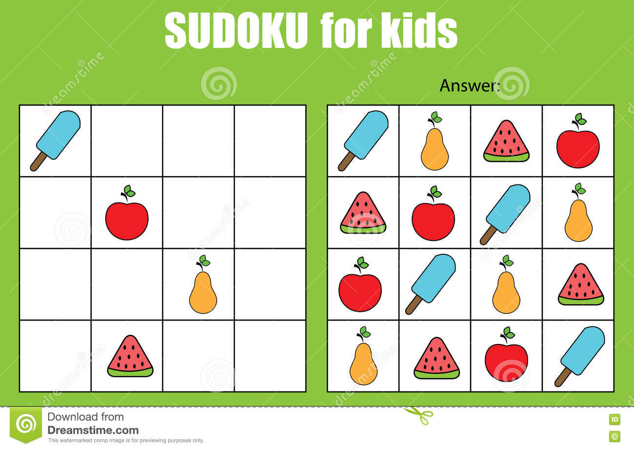 Sudoku Game For Children Kids Activity Sheet Stock Vector