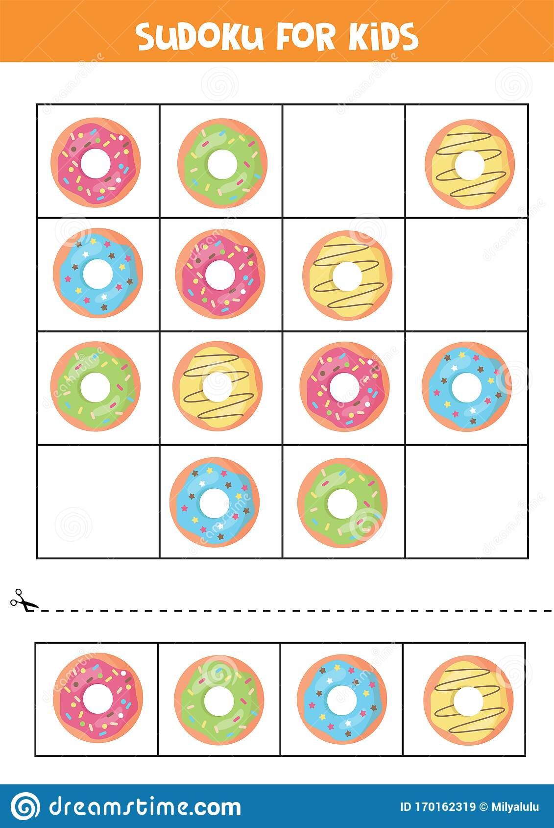 Sudoku For Kids With Cartoon Donuts Logical Game For