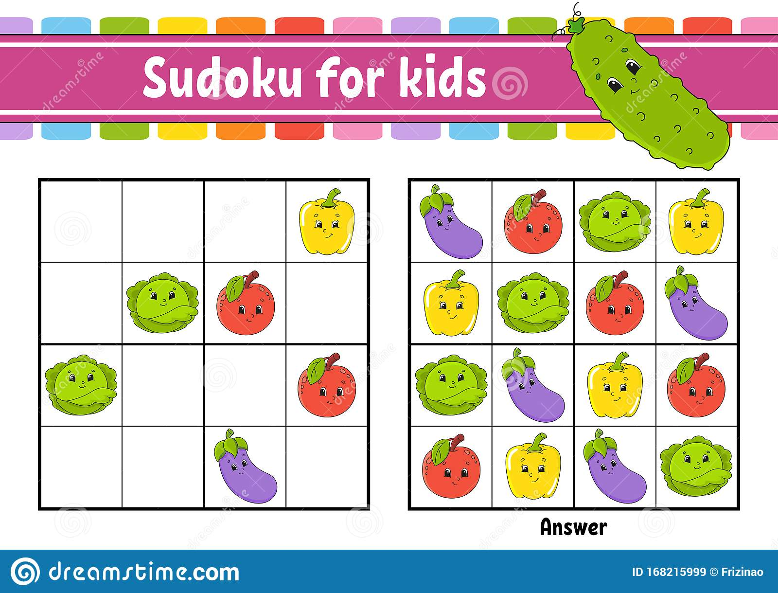Sudoku For Kids Education Developing Worksheet Vegetable