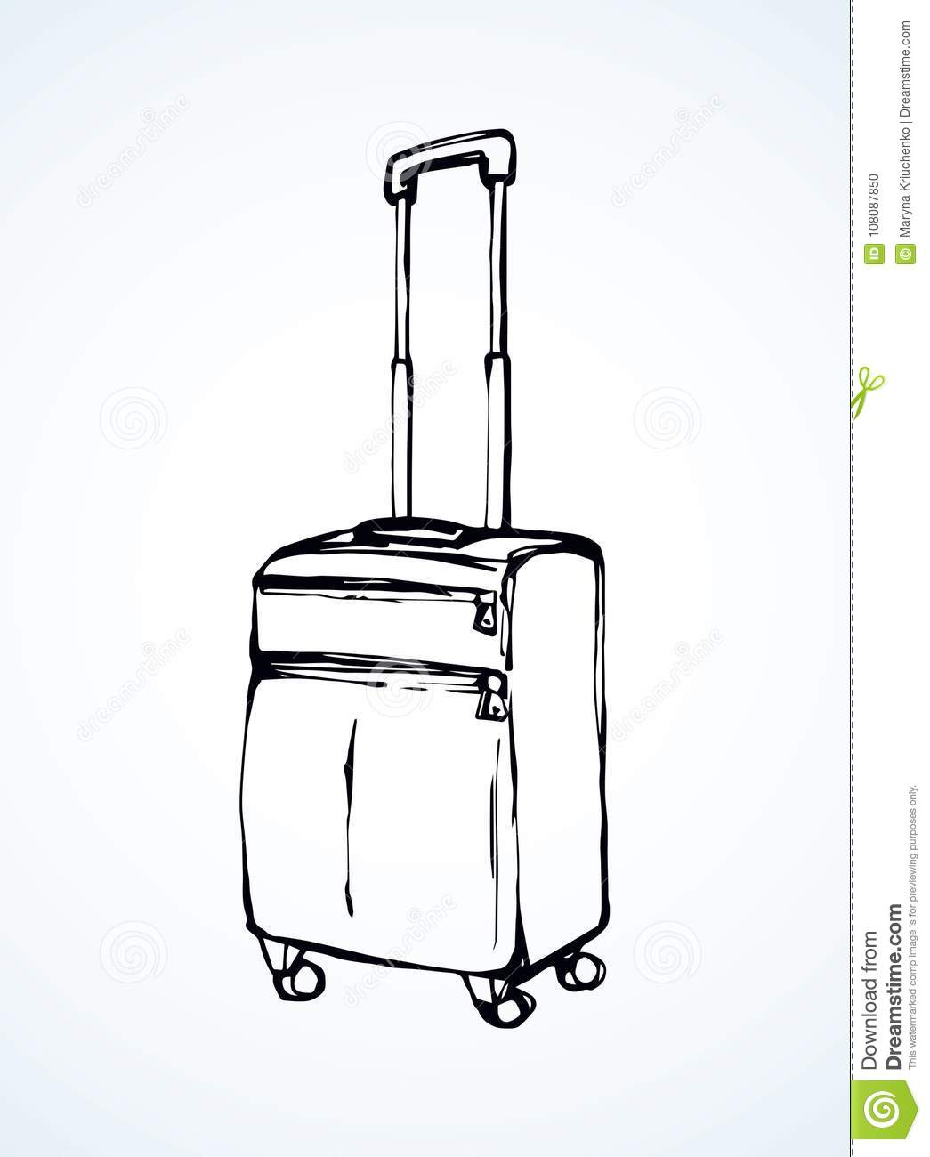 Suitcase Vector Drawing Stock Vector Illustration Of