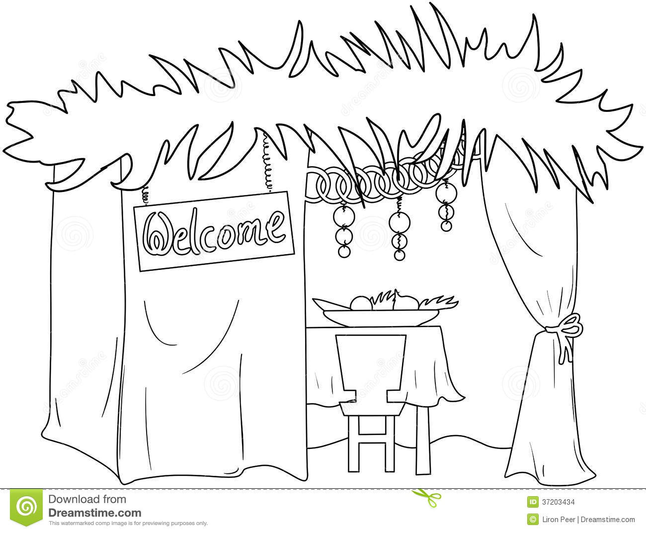 Sukkah For Sukkot Coloring Page Stock Vector