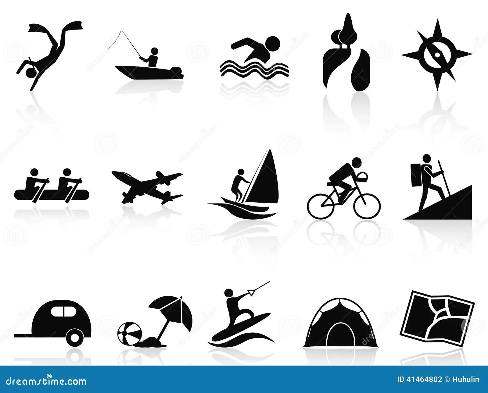 Summer Activities Icons Set Stock Vector