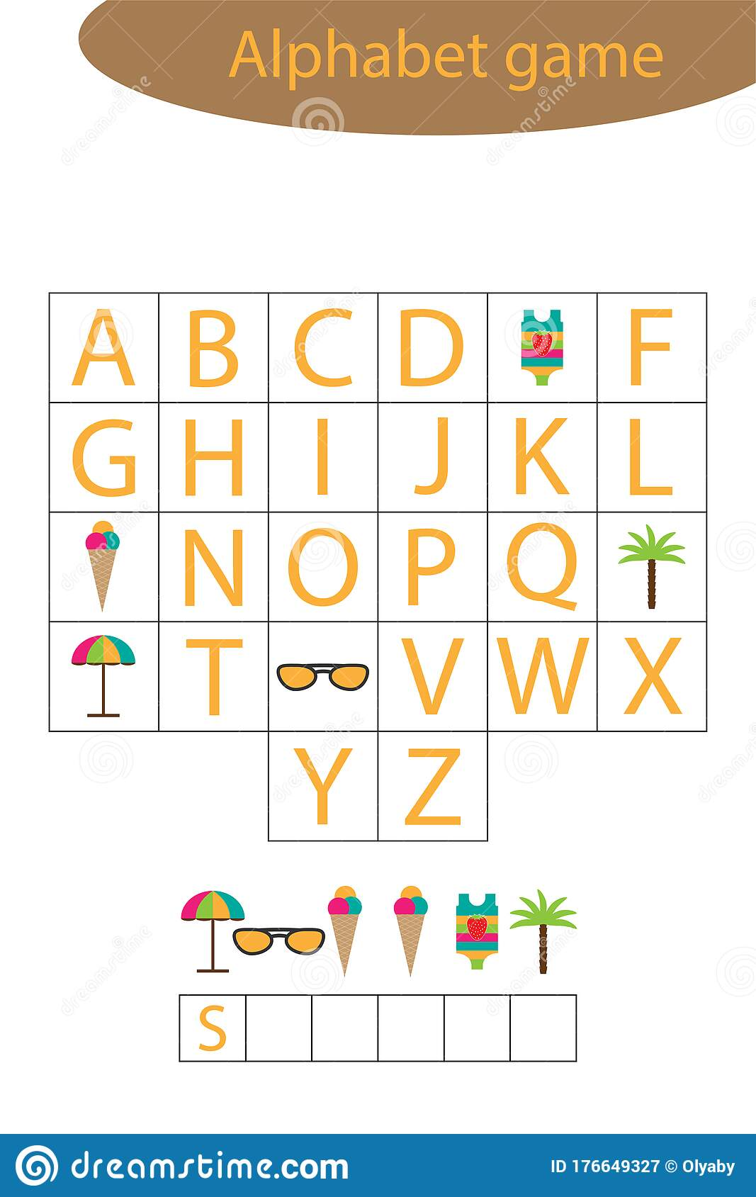 Summer Alphabet Game For Children Make A Word Preschool