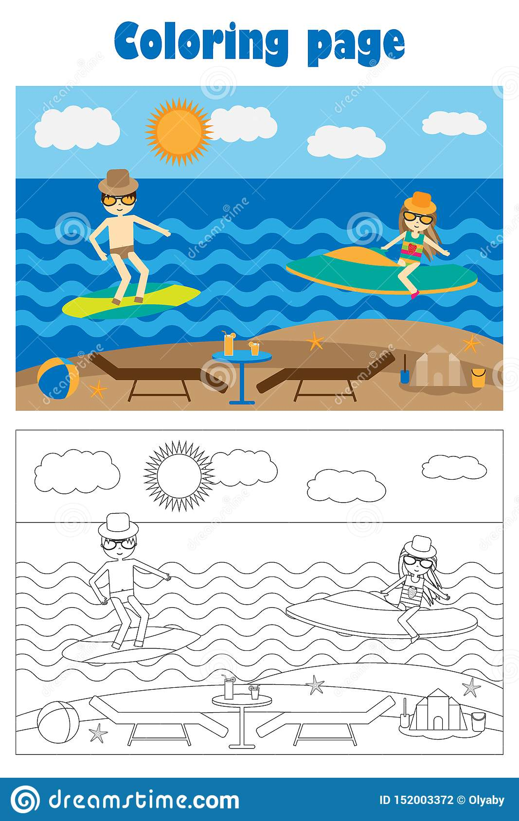 Summer Beach With People In Cartoon Style Summer Coloring