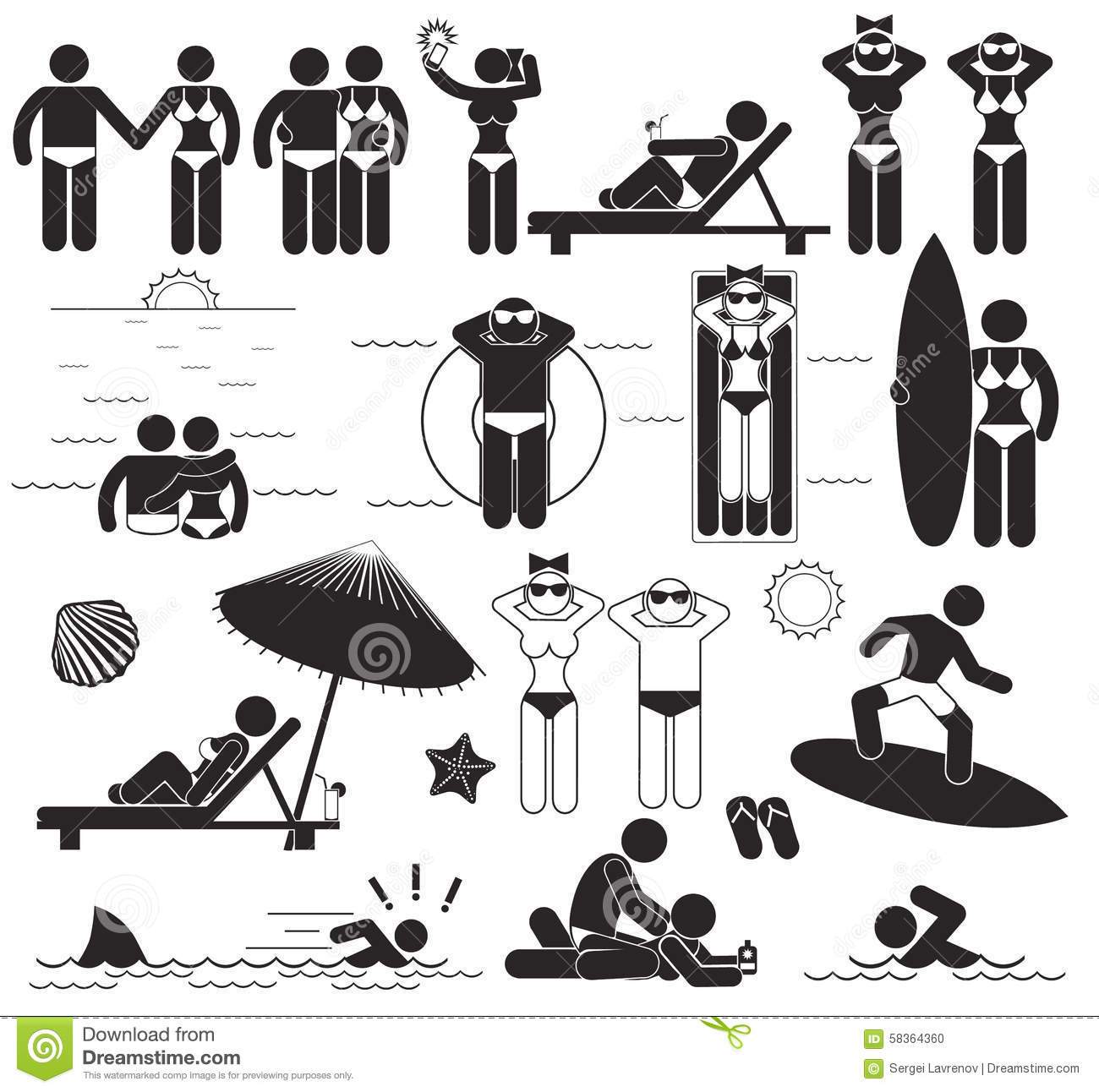 Summer Beach Vacations Vector Set Stick Pictograms And
