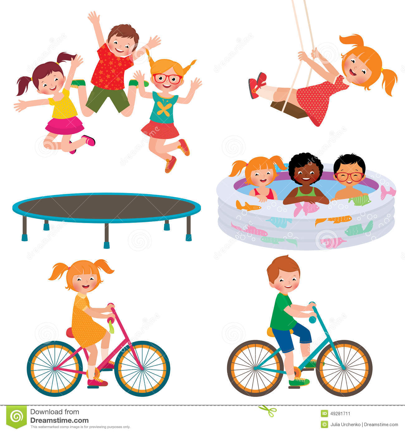 Summer Children Activities Stock Vector Illustration Of
